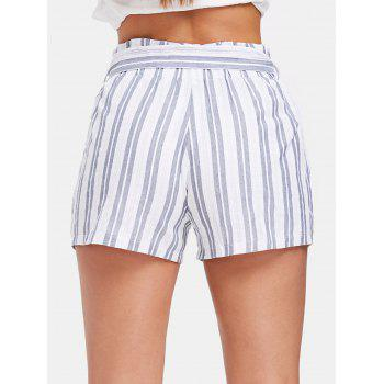 Belted Striped High Waist Shorts - WHITE L