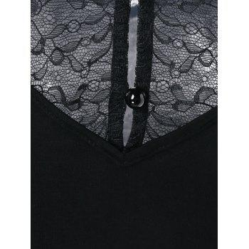 Strappy Cold Shoulder Lace Panel Tee - BLACK XL