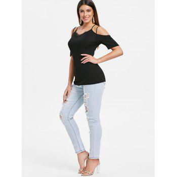 Strappy Cold Shoulder Lace Panel Tee - BLACK L