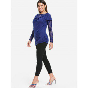 Round Neck Ruched T-shirt - BLUE S