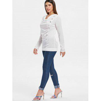 Long Sleeve Button Embellished T-shirt - WHITE XL