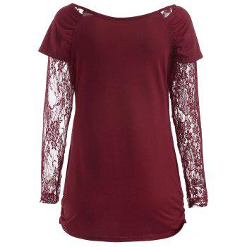 Round Neck Ruched T-shirt - RED 2XL