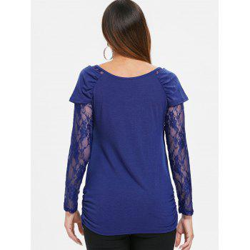 Round Neck Ruched T-shirt - BLUE 2XL