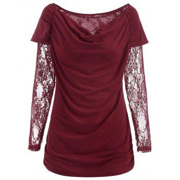 Round Neck Ruched T-shirt - RED XL
