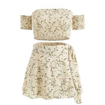 Floral Print Crop Top and Wrap Skirt Set - BEIGE S