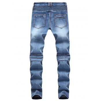 Patchwork Pleated Tapered Biker Jeans - WINDOWS BLUE 32