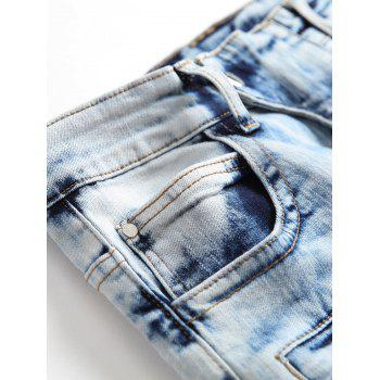 Zipper Embellished Acid Wash Patchwork Jeans - LIGHT BLUE 36