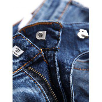 Patchwork Pleated Tapered Biker Jeans - WINDOWS BLUE 40