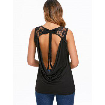 Cut Out Back Lace Insert Tank Top - BLACK S