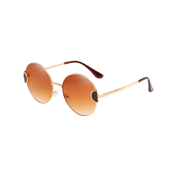 Anti Fatigue Metal Full Frame Clear Lens Circle Sunglasses - CAMEL BROWN