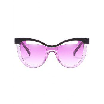 Vintage Hollow Out Frame Clear Lens Catty Sunglasses - HELIOTROPE PURPLE