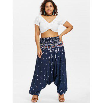 Plus Size Floral Drop Crotch Jumpsuit - DARK SLATE BLUE L
