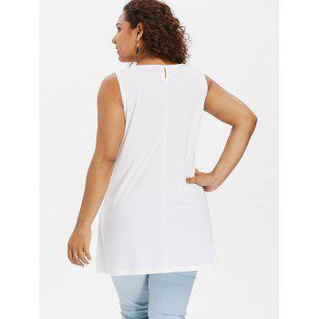 Plus Size Floral Feather Tank Top - WHITE 2X