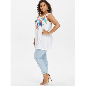 Plus Size Floral Feather Tank Top - WHITE 1X