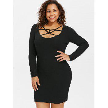 Plus Size Strappy Mini Bodycon Dress - BLACK 1X