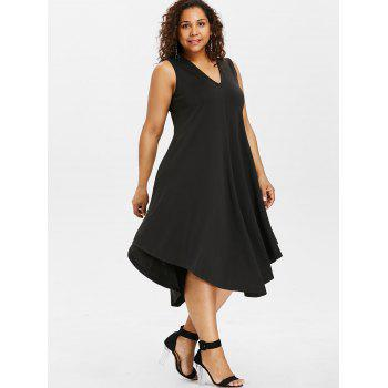 Plus Size Asymmetric V Neck Dress - BLACK 1X