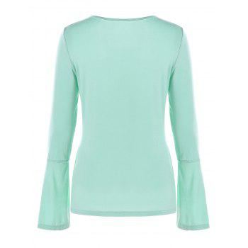 Slit Cuff Flare Sleeve T-shirt - BLUE GREEN 2XL