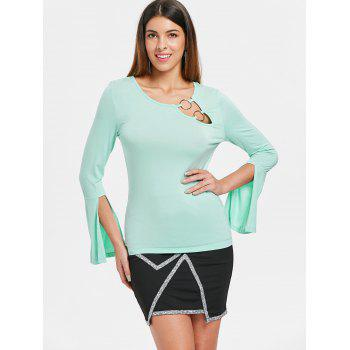 Slit Cuff Flare Sleeve T-shirt - BLUE GREEN XL