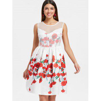 Flower Pattern Mesh Panel Flare Dress - WHITE M