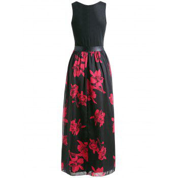 Sleeveless Floral Print Maxi Dress - BLACK M