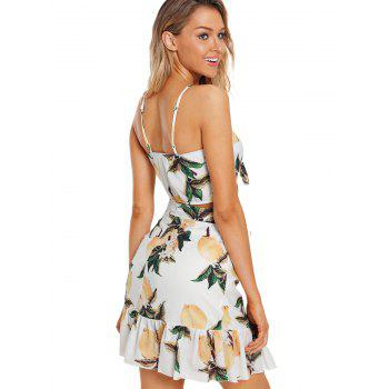 Lemon Printed Crop Top and Skirt - WHITE L