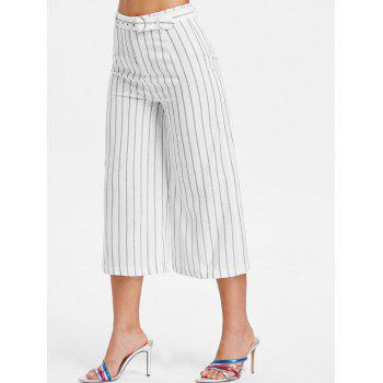 Striped High Waist Capri Pants - WHITE M