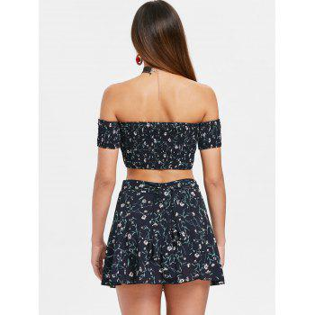 Floral Print Crop Top and Wrap Skirt Set - CADETBLUE L