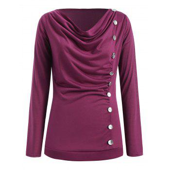 Long Sleeve Button Embellished T-shirt - PURPLE L