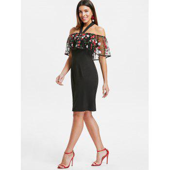 Open Back Embroidered Dress - BLACK M