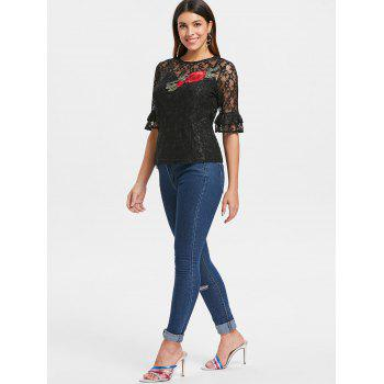 Lace Embroidery Sheer Top and Camisole - BLACK XL