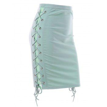 Lace Up Side Bodycon Skirt - LIGHT SEA GREEN M