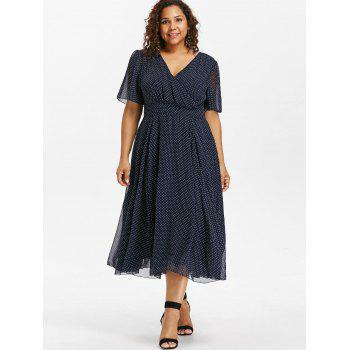 Plus Size Polka Dot Surplice Dress - DEEP BLUE 3X