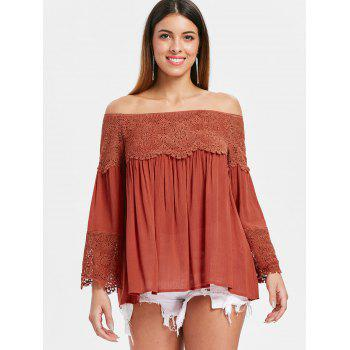 Bare Shoulder Long Sleeve Swing Blouse - MAHOGANY XL
