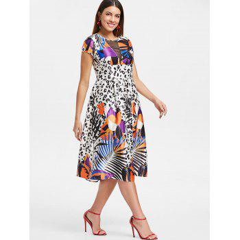Tropical Leopard Print Flare Dress - WHITE M