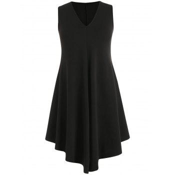 Plus Size Asymmetric V Neck Dress - BLACK 2X