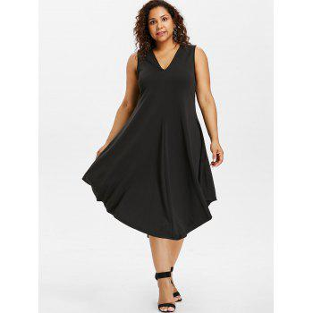 Plus Size Asymmetric V Neck Dress - BLACK 3X