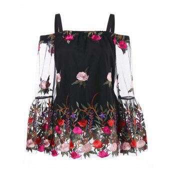 Mesh Insert Embroidered Top - BLACK L