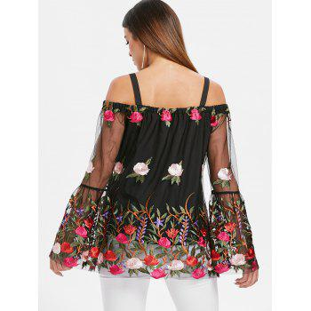 Mesh Insert Embroidered Top - BLACK XL
