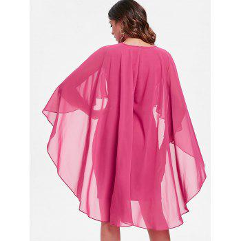 Bodycon Cape Dress - ROSE RED 2XL