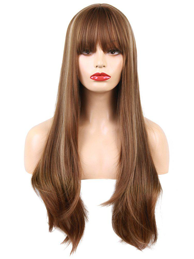Full Bang Long Straight Colormix Synthetic Wig - multicolor