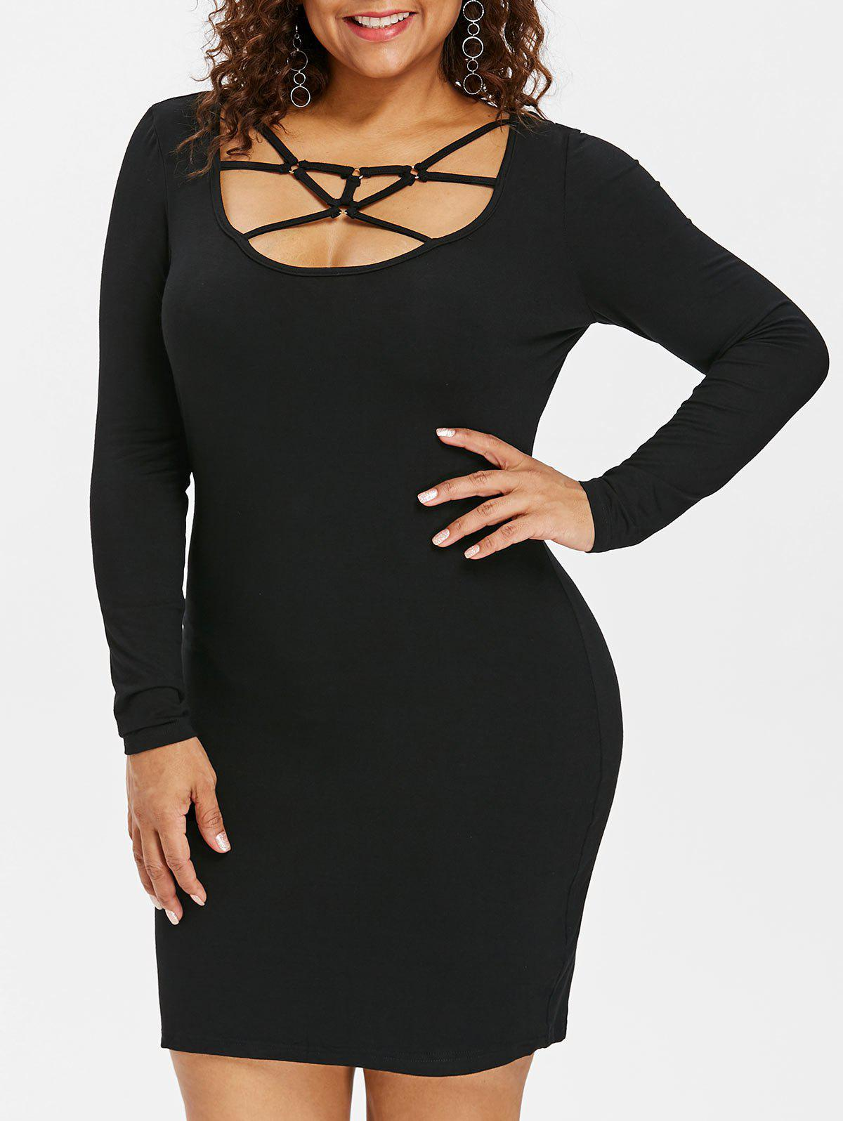 Plus Size Strappy Mini Bodycon Dress - BLACK 2X