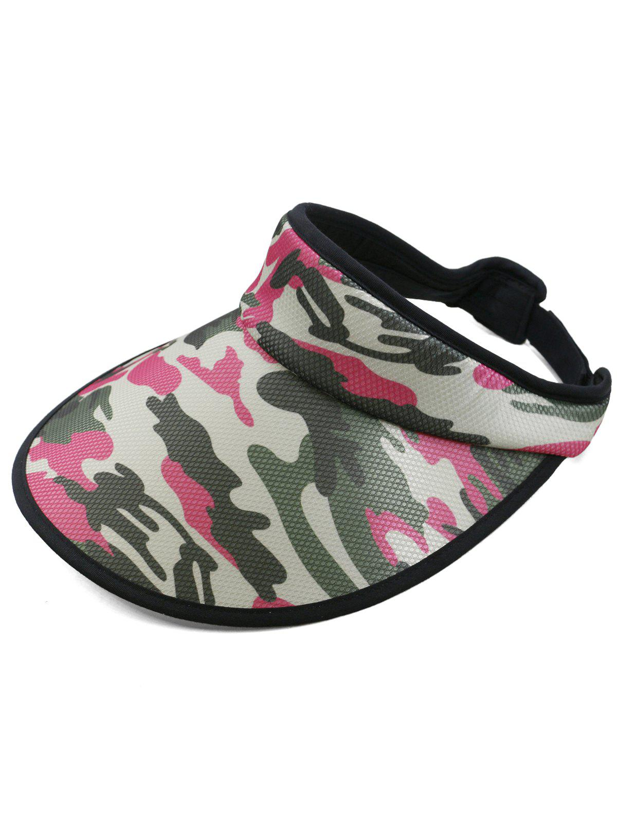 Stylish Camouflage Printed Open Top Sun Hat - ROSE RED