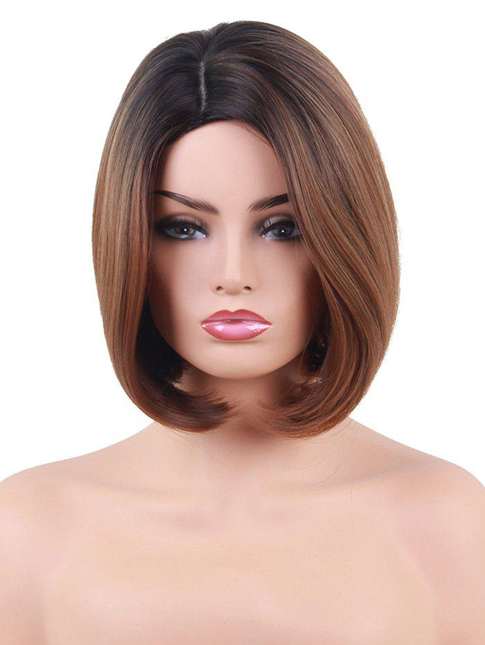 Short Side Parting Colormix Straight Bob Heat Resistant Synthetic Wig - multicolor