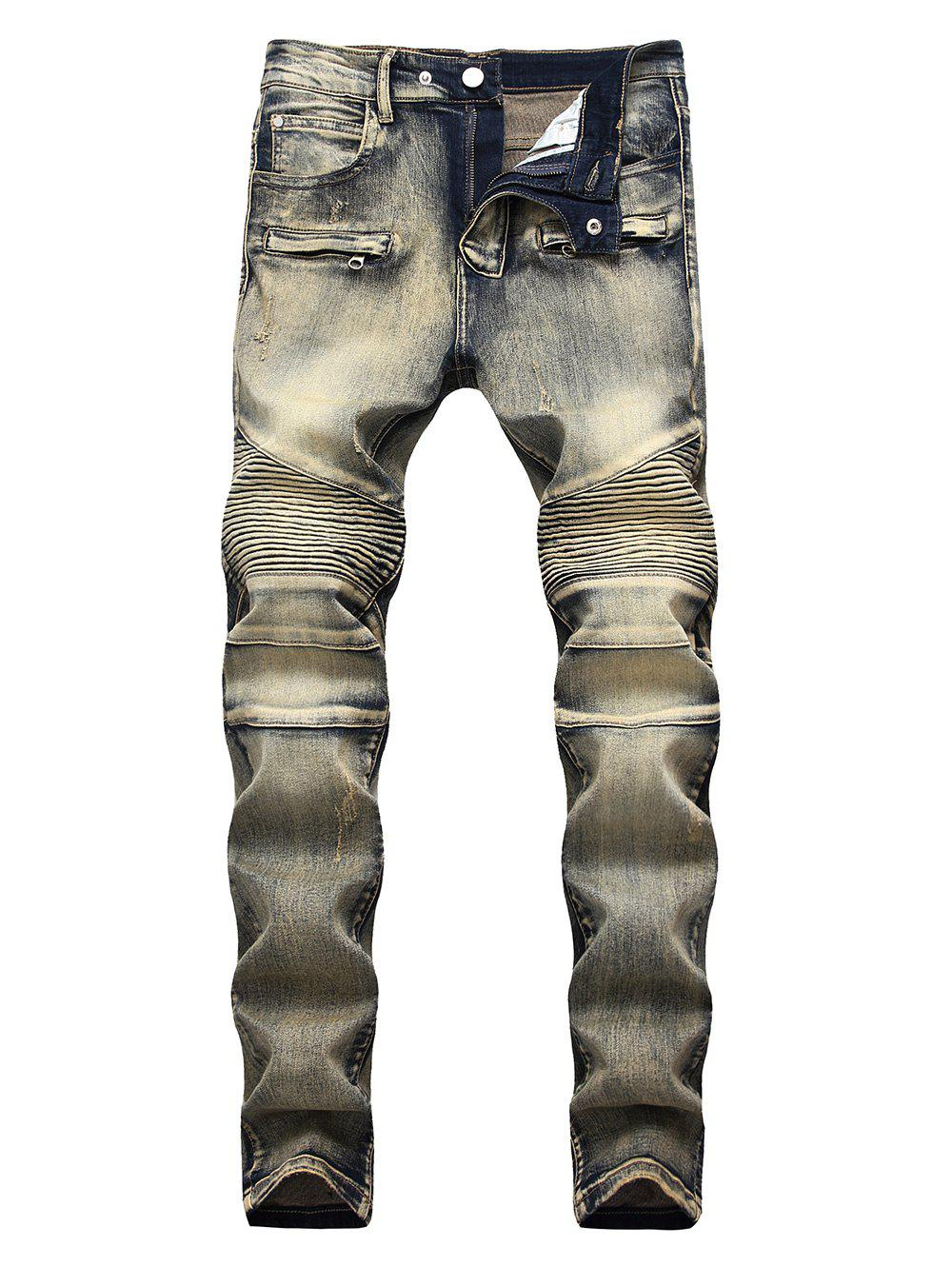 Retro Patchwork Narrow Feet Biker Jeans - KHAKI 36