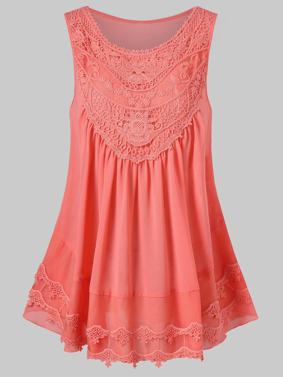 Lace Embroidered Mesh Insert Swing Tank Top - ORANGE PINK L