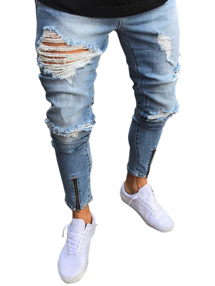 Ripped Faded Wash Zip Hem Jeans - BLUE 36
