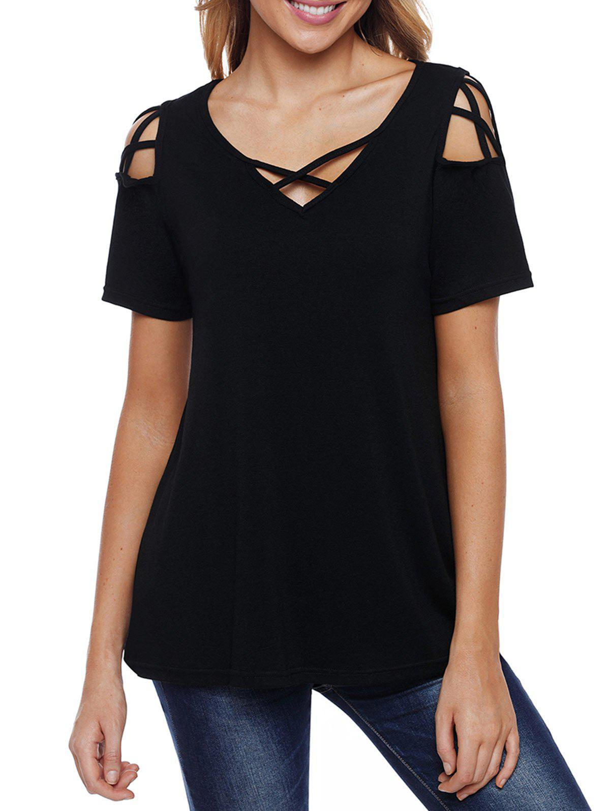 Criss Cross T-shirt - BLACK S