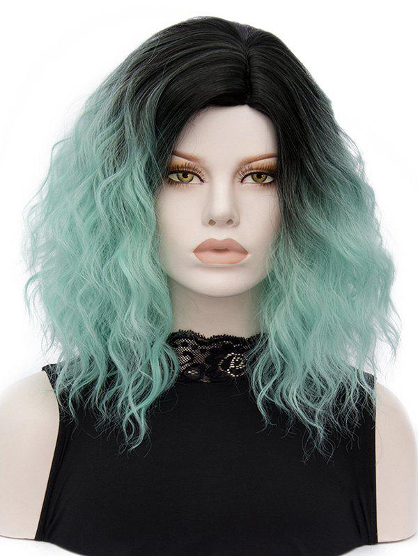 Side Parting Medium Colormix Natural Wavy Synthetic Wig - multicolor