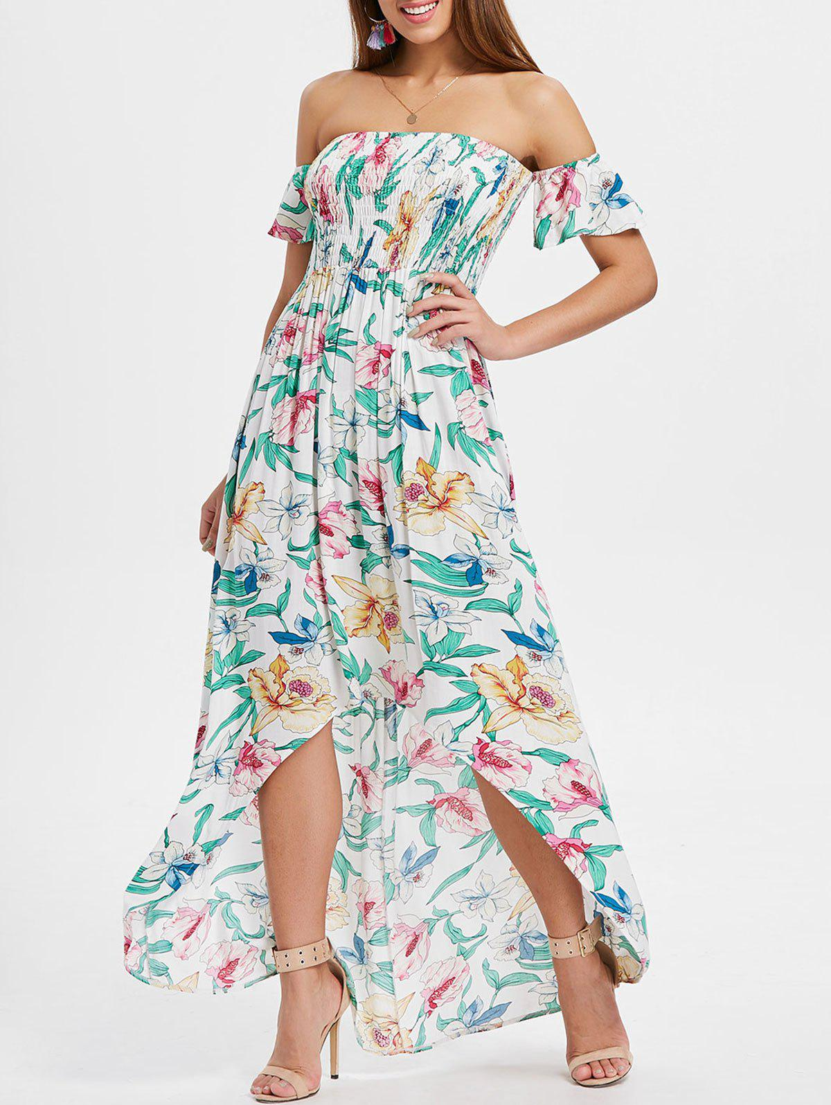 Flower Print Maxi Shirred Dress - multicolor L