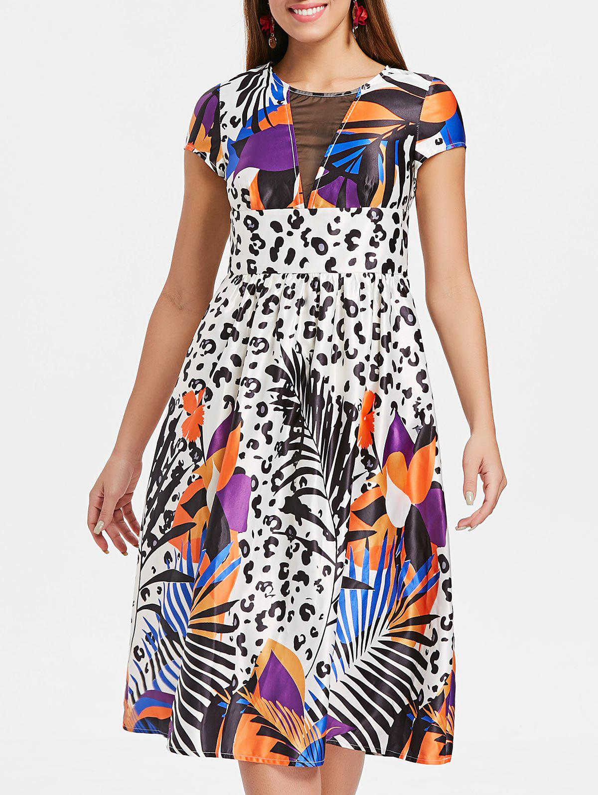 Tropical Leopard Print Flare Dress - WHITE L